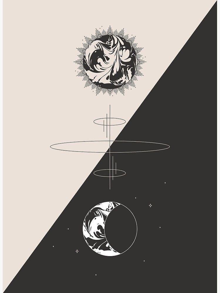 Sun & Moon Cosmic Totem - Minimal Photographic Print