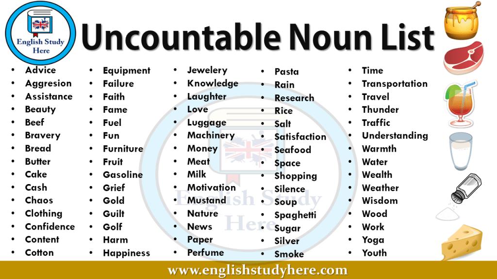Http Englishstudyhere Com Nouns Uncountable Noun List Uncountable Nouns English Study Nouns