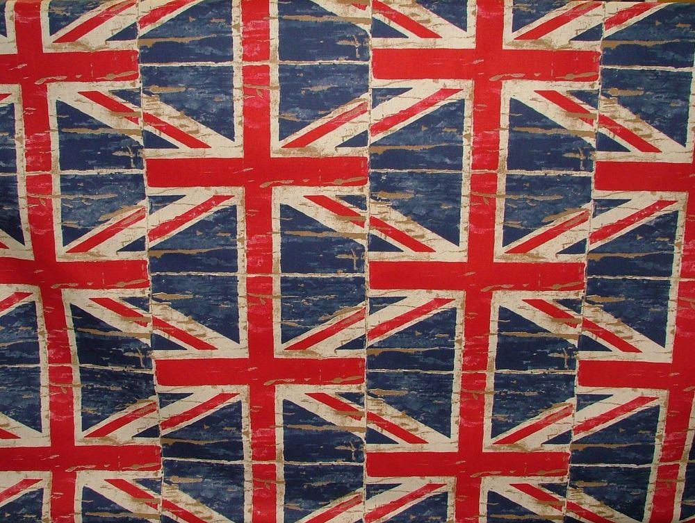 Union Jack Flag Denim Prestigious Retro Designer Curtain Upholstery