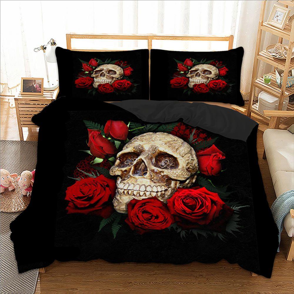 Printed King Size Bedding Set Skull Flower Fahion Cool