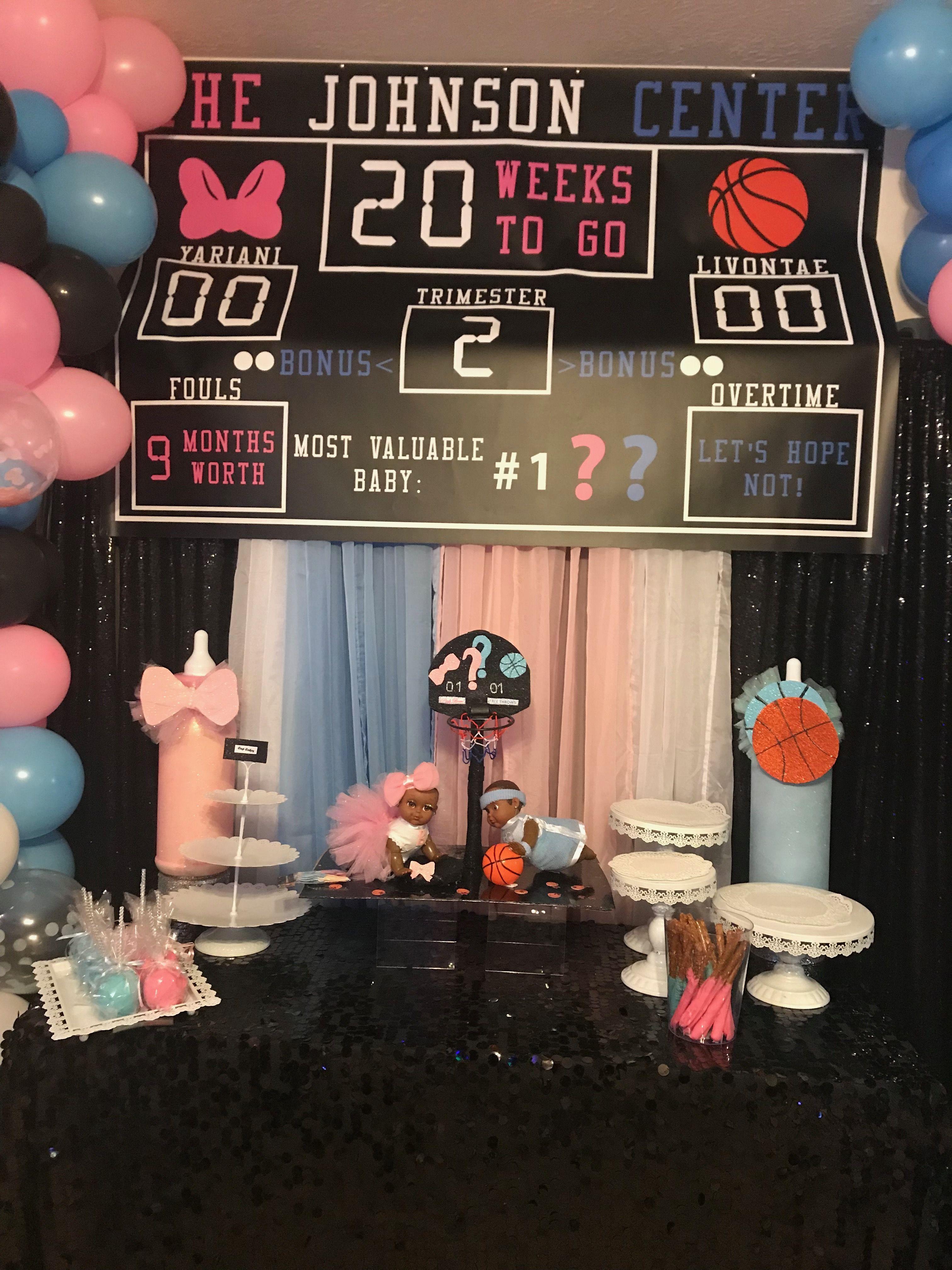 Gender Reveal Gender Reveal Decorations Basketball Gender Reveal Baby Gender Reveal Party