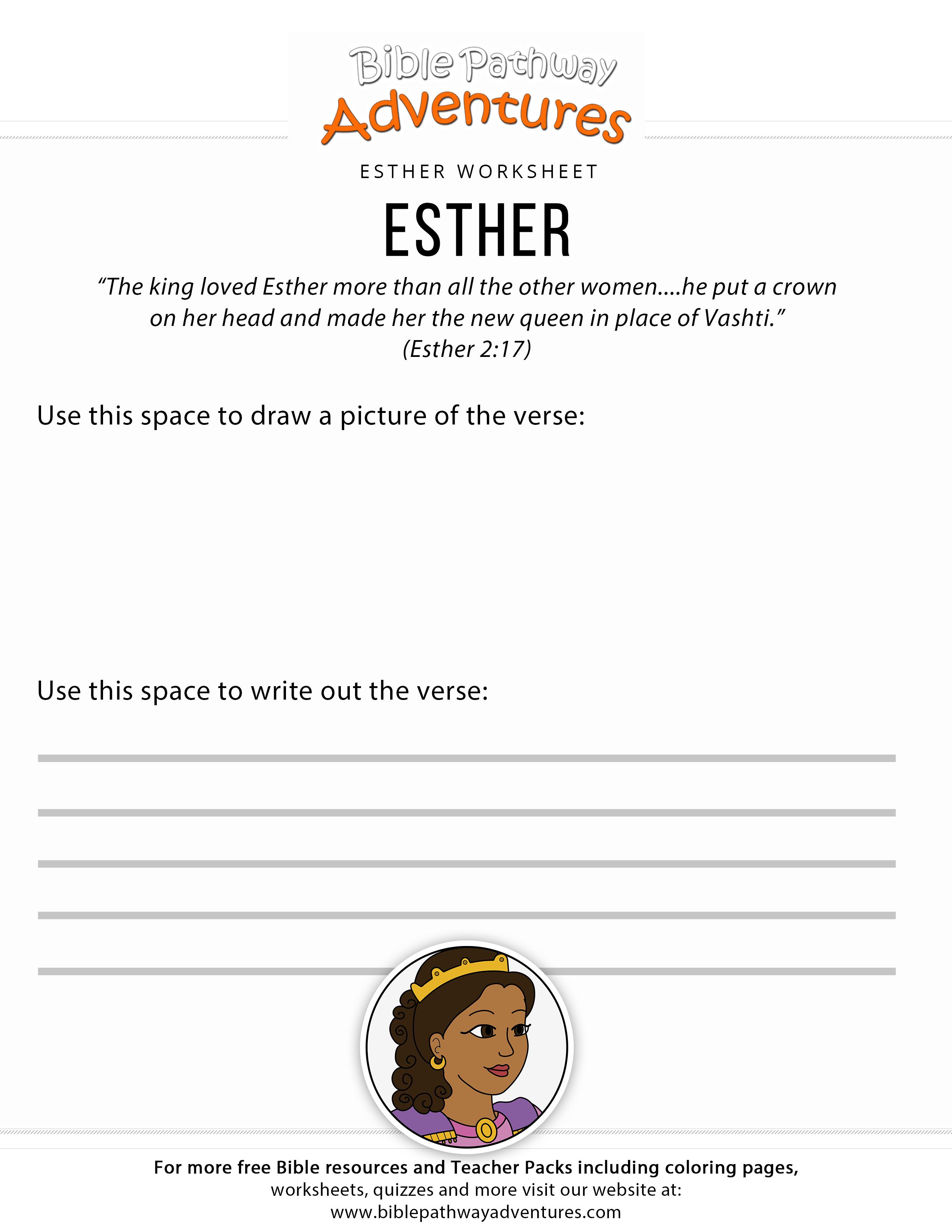 Esther Bible Worksheet For Kids