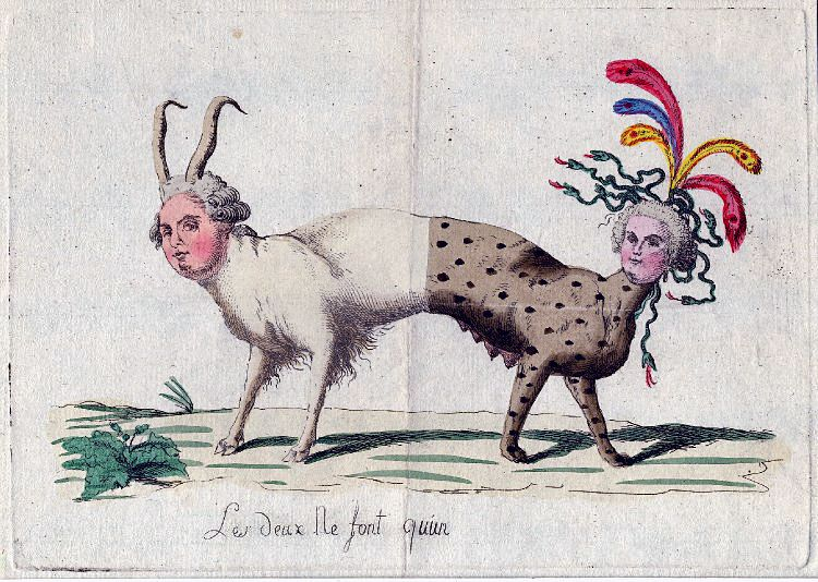 Satirical popular cartoon depicting Marie Antoinette and Louis XVI as the same beast with two heads.