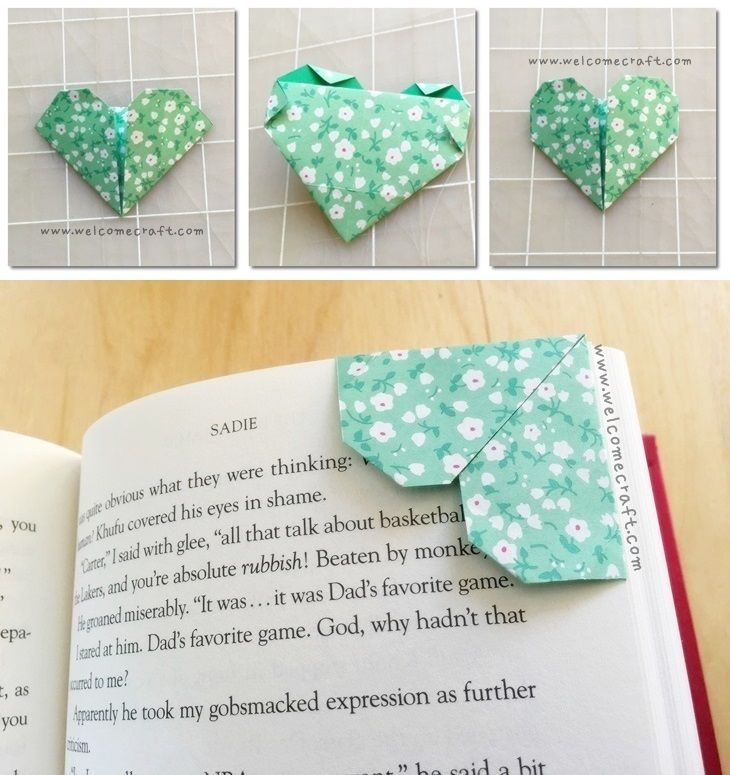 DIY Origami Heart Bookmark Step By Tutorial Instruction