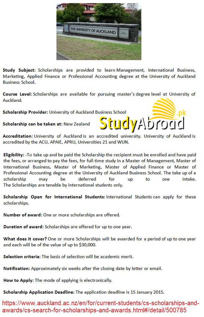 Master Scholarship In New Zealand For Pakistani Students 2014