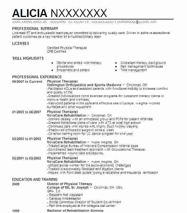 Image Result For Occupational Therapy Resume