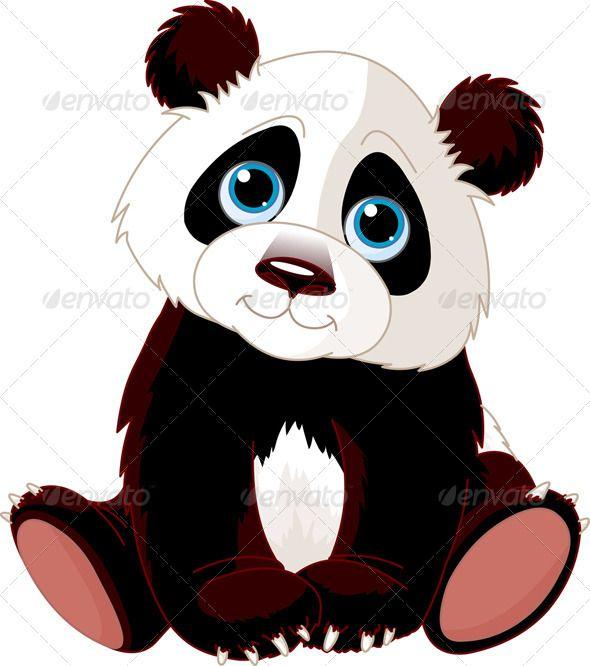 Vectors Sitting Panda Graphicriver Panda Illustration Panda Artwork Cute Panda