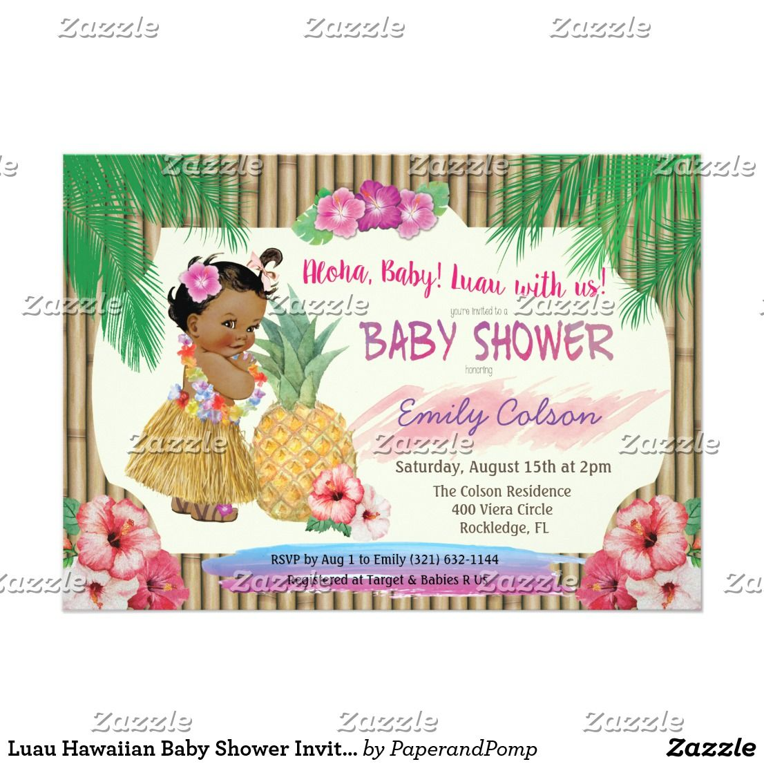 Luau Hawaiian Baby Shower Invitation   Baby Shower   Pinterest ...