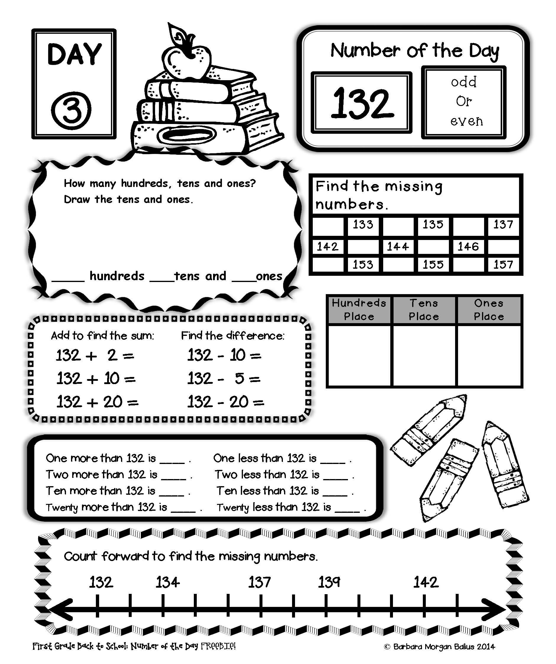 LOOK! a Second Grade Number of the Day FREEBIE!   Second grade math [ 2244 x 1879 Pixel ]