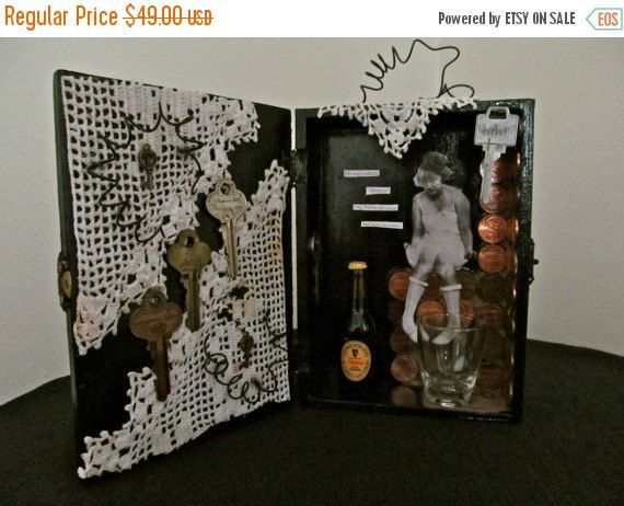 HAPPY 2016 On Clearance Altered Art Box Assemblage by ladyjennd