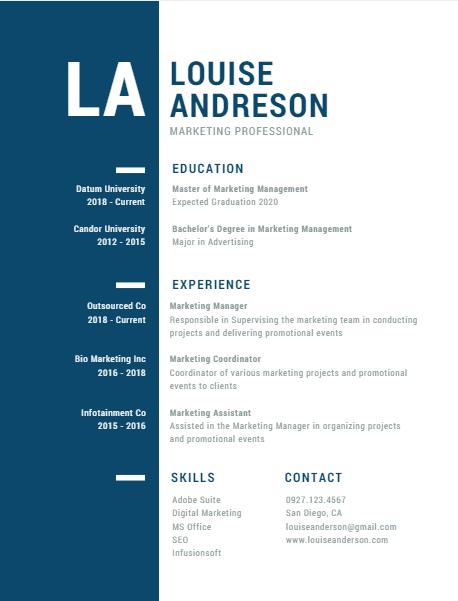 Canva 1 Resume Marketing Professional Co Marketing Resume Templates