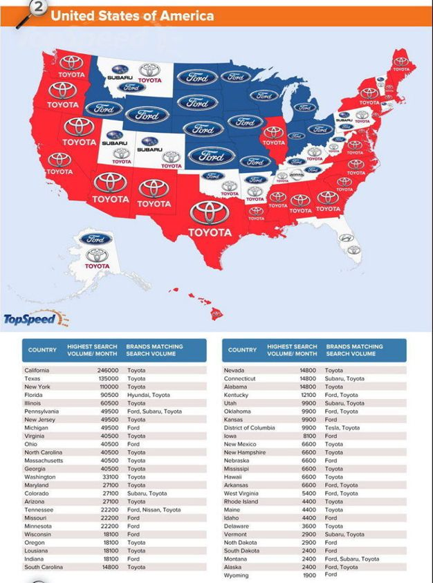This World Map Shows the Most-Googled Car Brands By Country - http ...