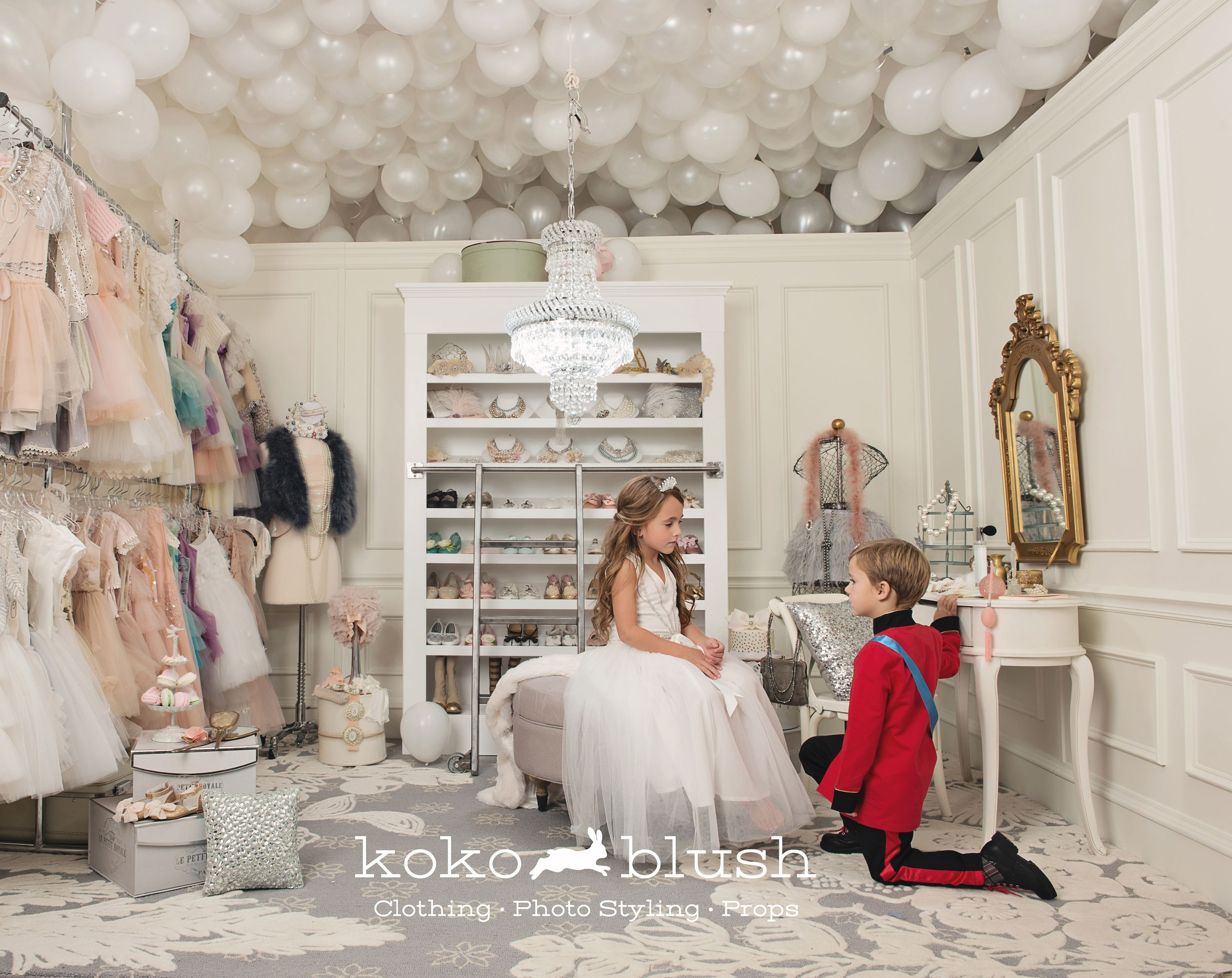 We had a blast building this set, and working with an amazing carpenter who built the custom shoe rack. How many hours do you think it took us to built the balloon ceiling?!  Guess for your chance to win big www.kokoblush.com