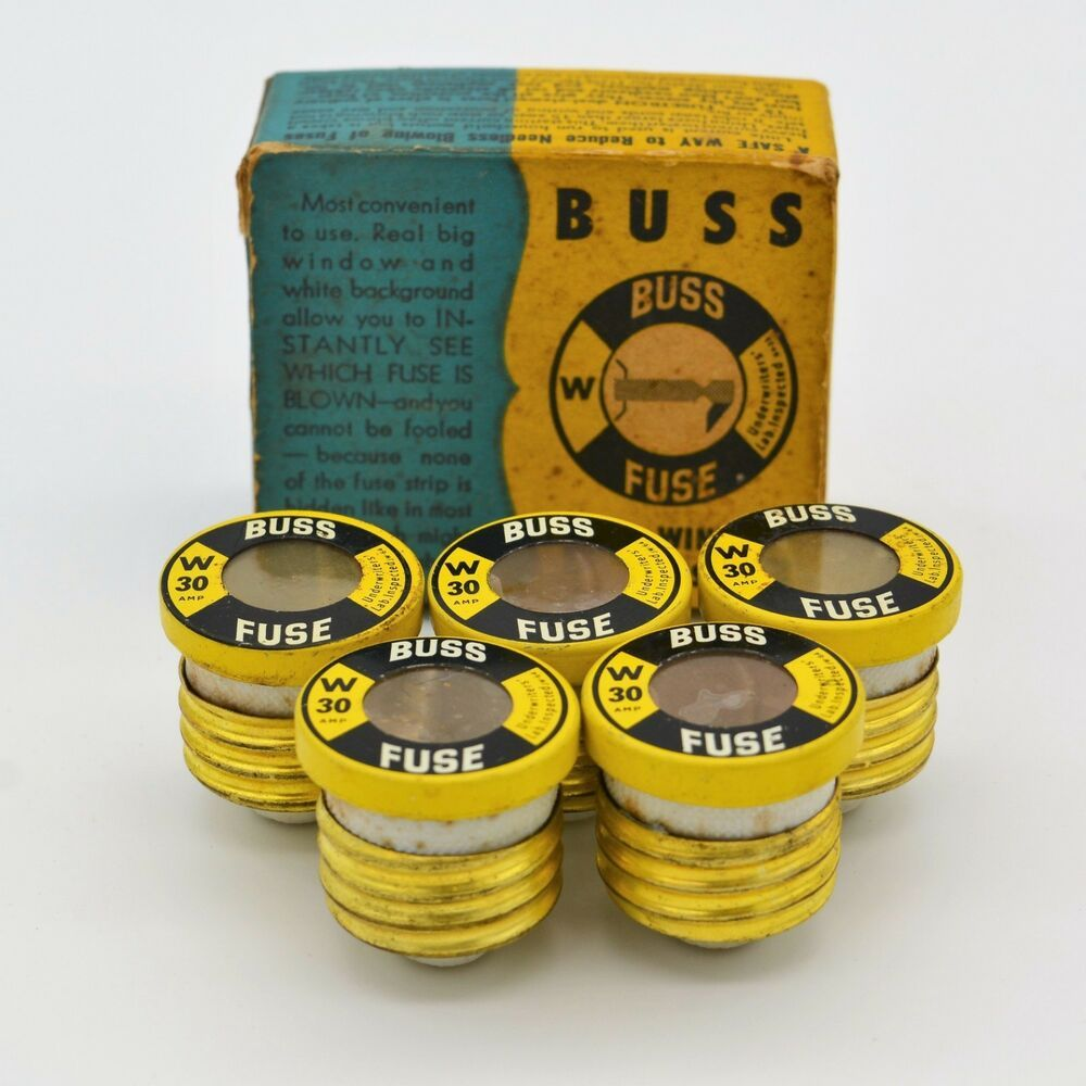 vintage buss w 5 fuses clear window copyright 1948 30 amp usa in original box buss [ 1000 x 1000 Pixel ]
