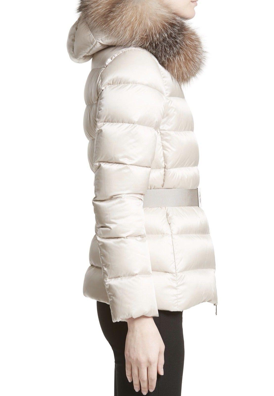 Details about Moncler Authentic Tatie Fox Fur Trim Hooded Short Down Puffer Coat New Black 2