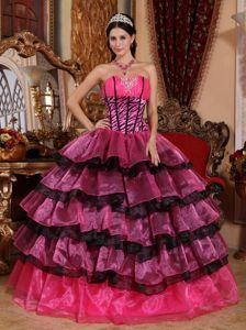 65b88590e726 Colorful Multi-tiered Strapless Quinces Dresses with Ruches Plus ...