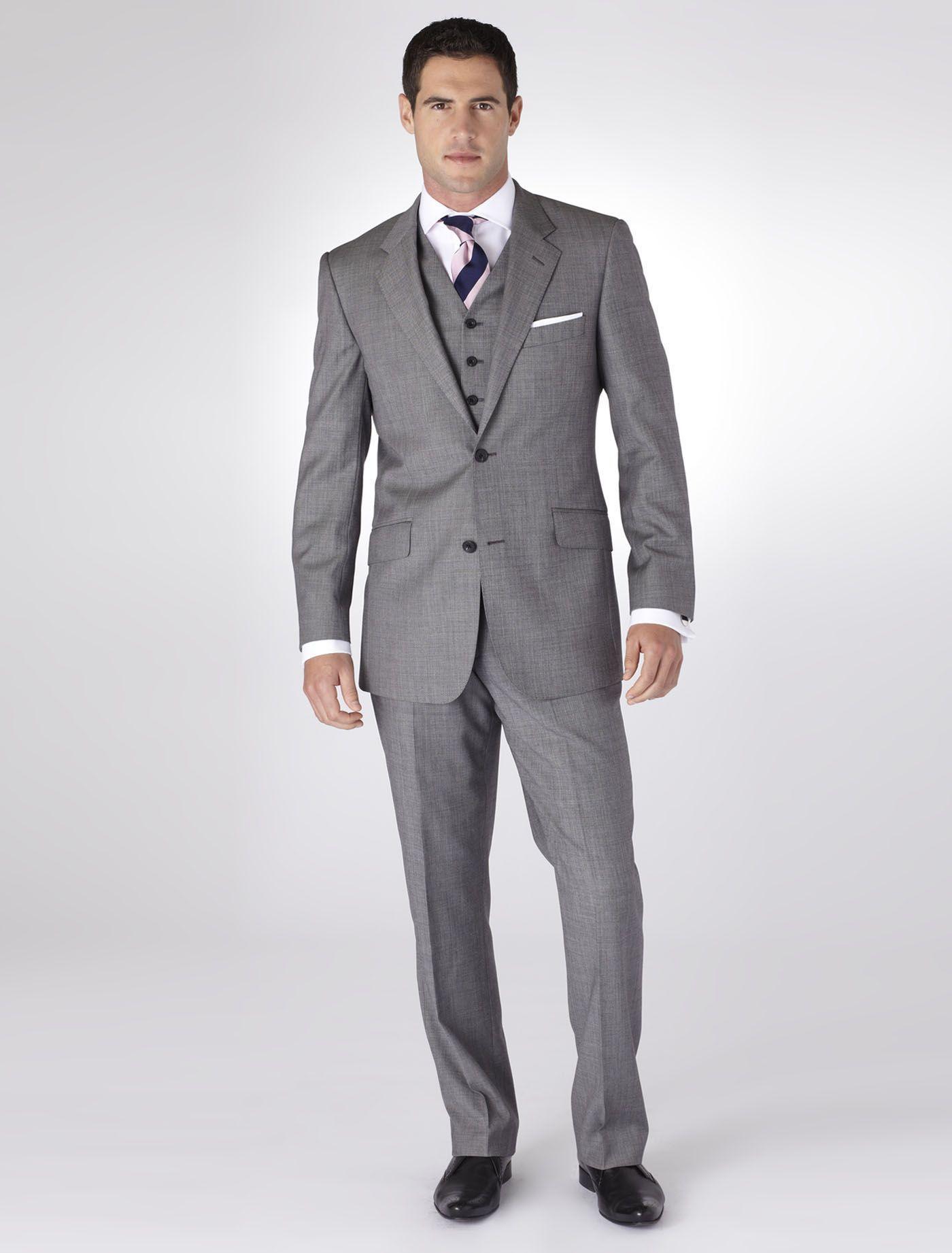 Wentworth light grey button menus suit b tm lewin