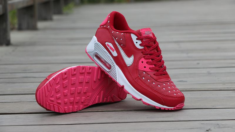 Nike Air Max 90 Print GS Dark Red Metallic Silver Pink Pow