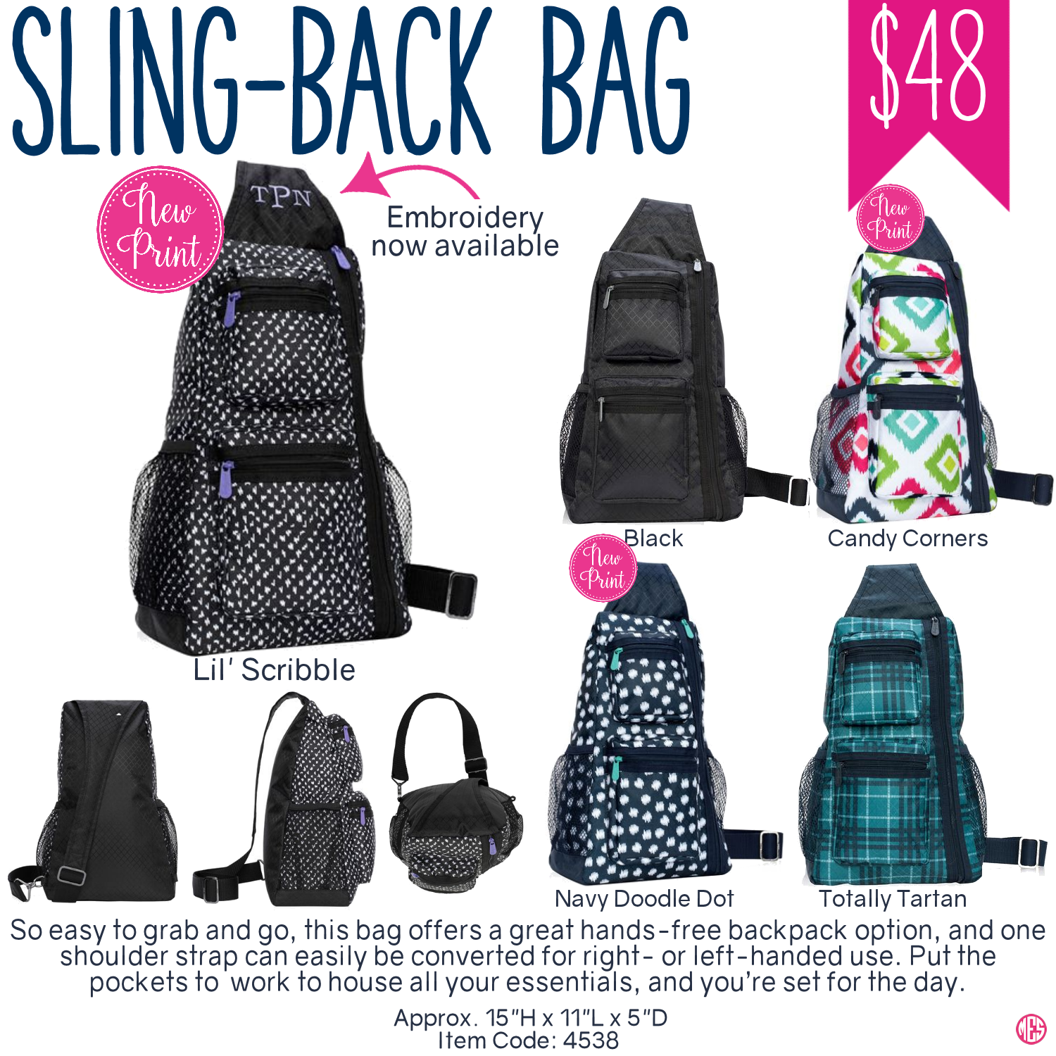 Thirty One Sling Back Bag Spring Summer 2017