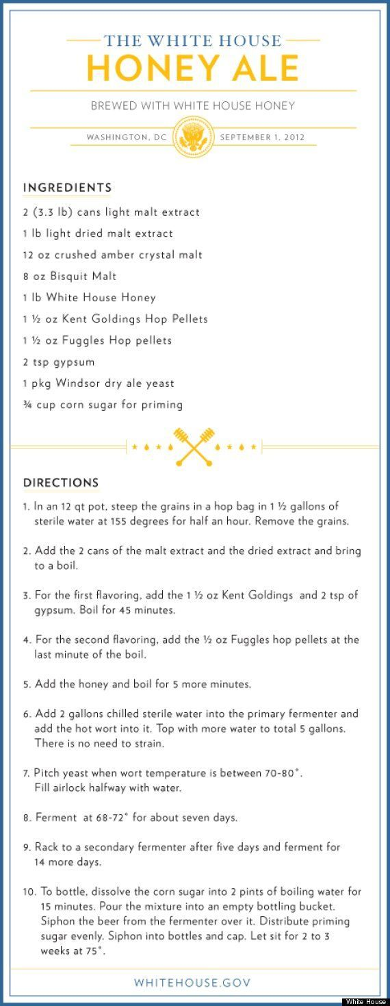 Wh Beer Recipe Honey Ale This Is The White House Beer Recipe We