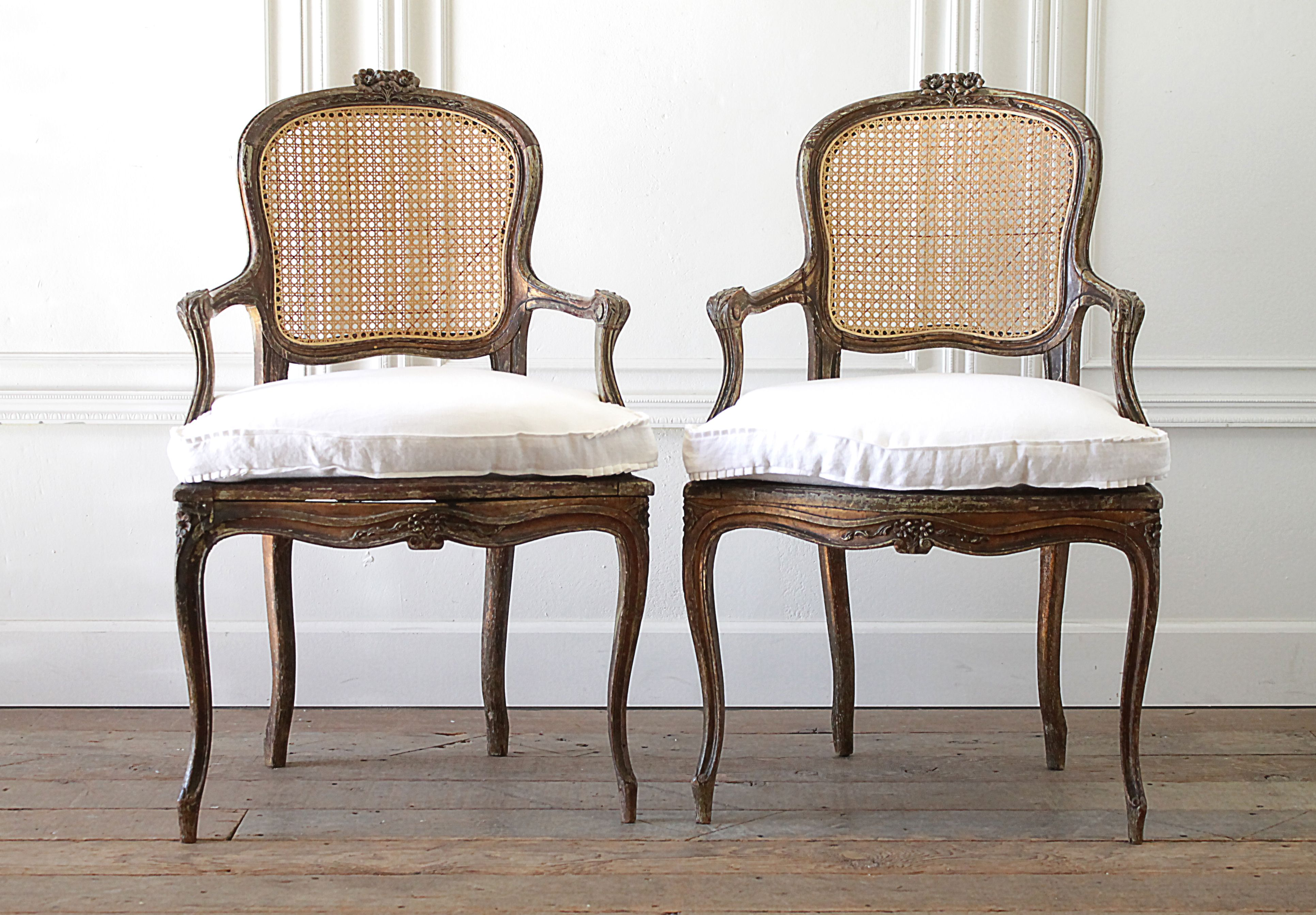 Pair Of Antique French Cane Back Open Arm Chairs With Custom Linen