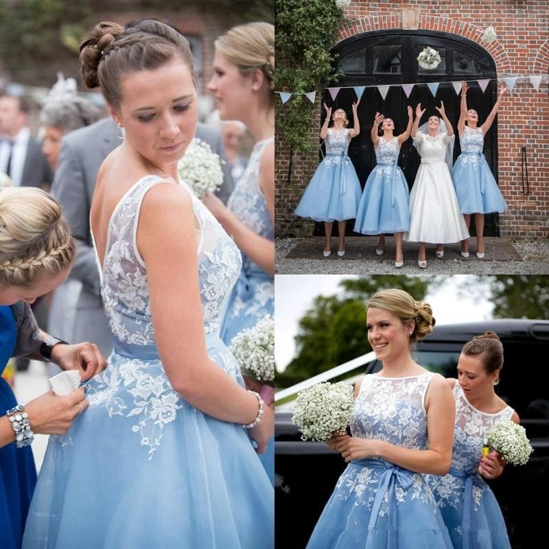 dusty blue and ivory flower girl dress