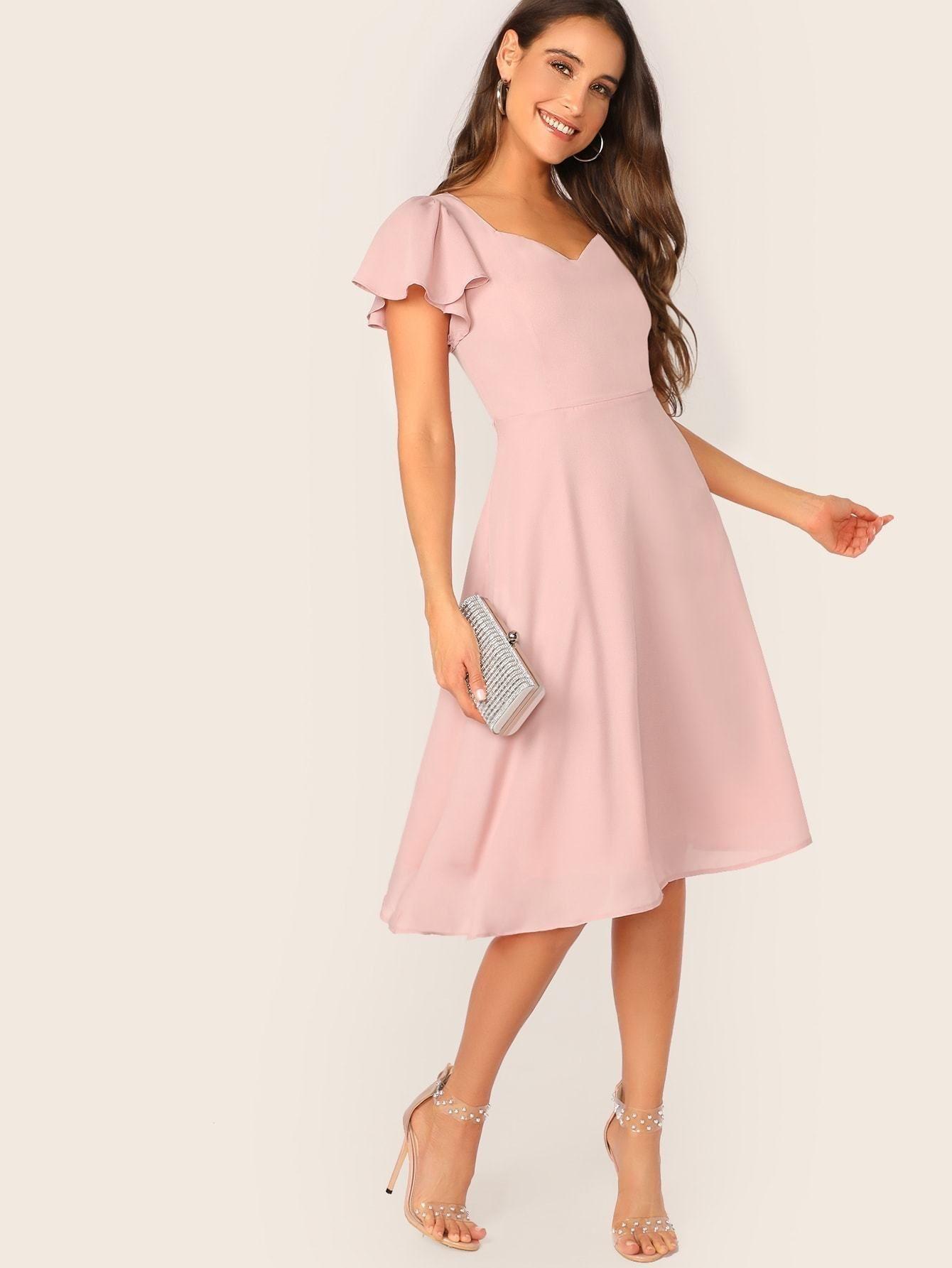 1 Flutter Sleeve Sweetheart Neck Fit Flare Dress Wear24 7 Midi Dress With Sleeves Flare Dress Fit Flare Dress [ 1785 x 1340 Pixel ]