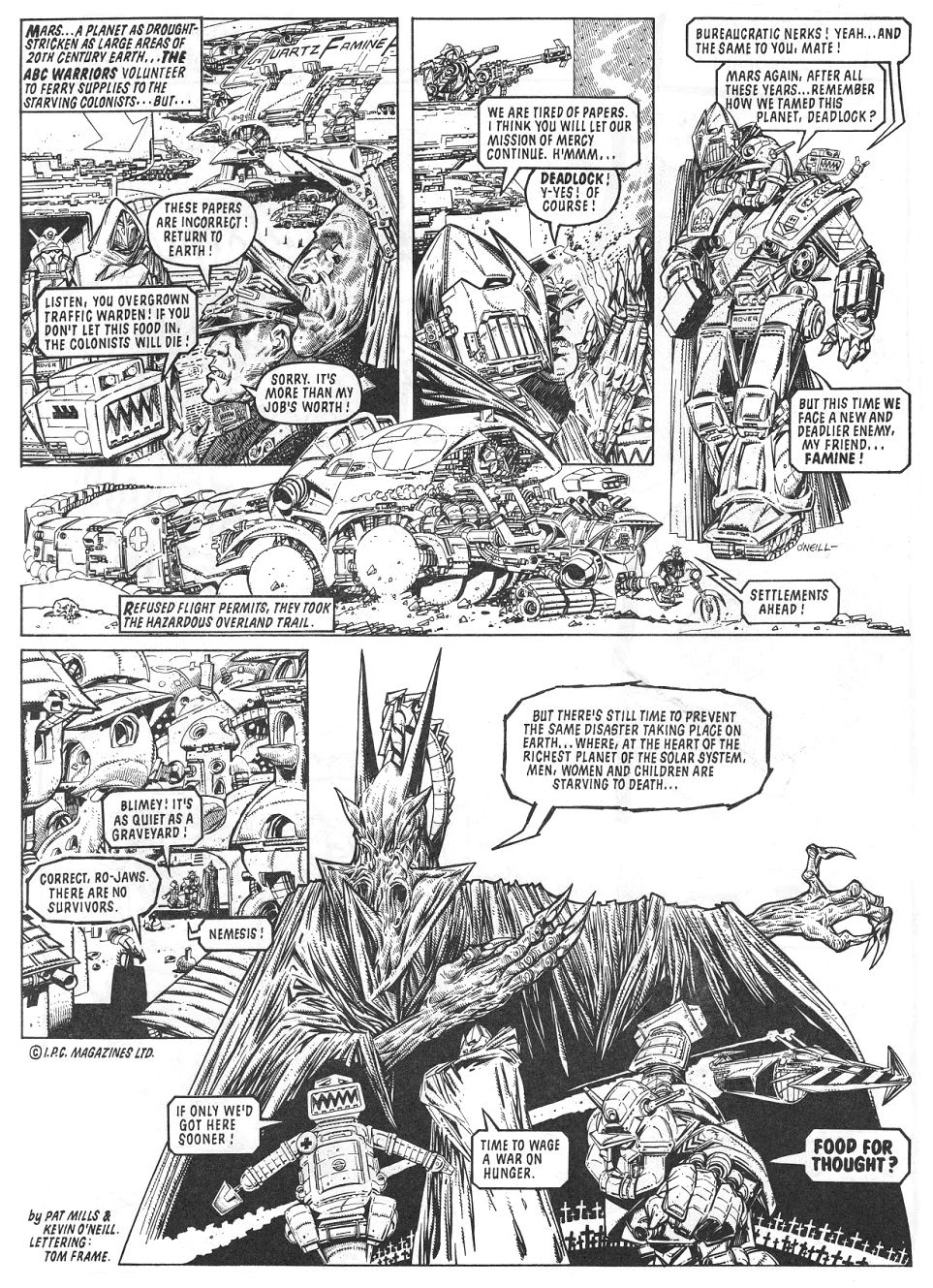 Kevin O'Neill_Food for thought, rare1980s famine relief fanzine art