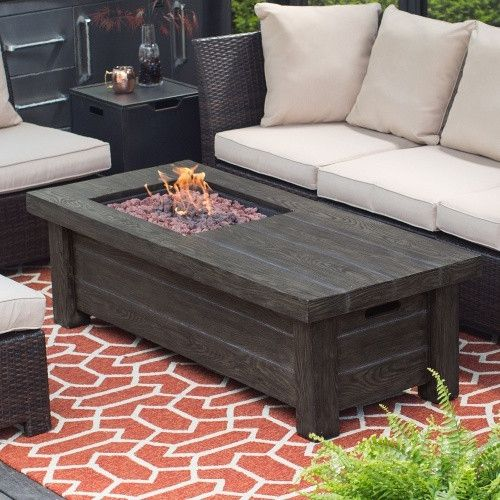 Red Ember Driftwood Fire Pit Table Fire Pits At Hayneedle - Rectangle patio table with fire pit