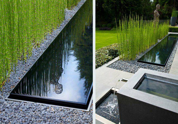 vorgarten gestalten teich kieselsteine bambus moderne, Garten ideen