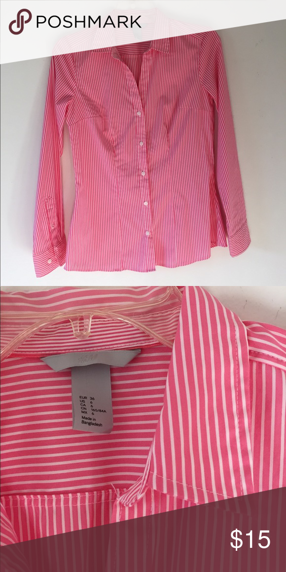 H&M Button Down Pink and white H&M button down. Very cute for summer and spring. Worn once to try on and has been sitting in the closet ever since. H&M Tops Button Down Shirts