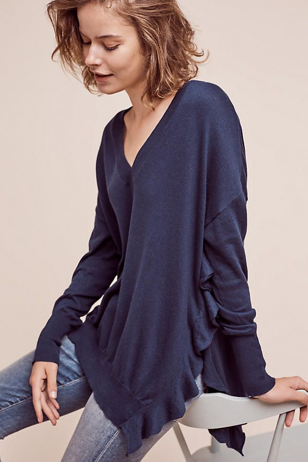Ruffled V-Neck Pullover | Your Anthropologie Favorites | Pinterest ...