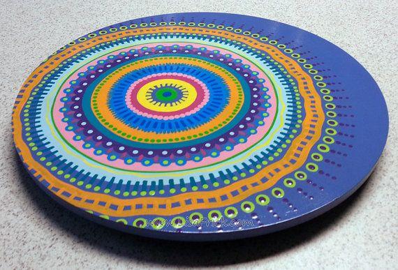 Lazy Susan Hand Painted 18 Diameter Offset Mandala by LisaFrick