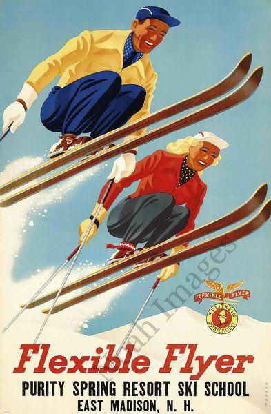 Vintage Ski School Travel Poster Repro 20x30 | eBay $10