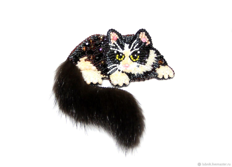 """Комплект """"Кошка и мышка""""   Брошь, Бисер, Бисерные ..."""