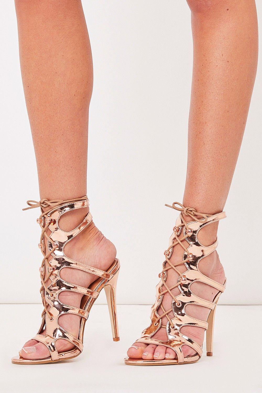 5f13b372b06 Kady Rose Gold Scalloped Lace Up Gladiator Heels