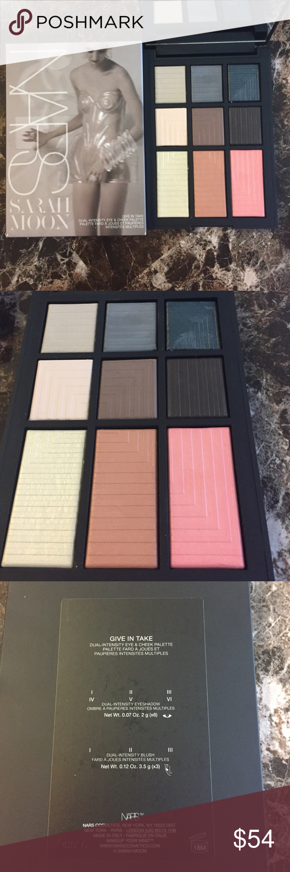 New Limited Nars Give In Take Eye & Cheek Palette New, limited edition Sephora exclusive. $114 value.   A limited-edition eye and cheek palette with dual-intensity shades that transition from sheer to saturated.   Contains six wet/dry eye shadows and three transformative blushes in one perfectly portable, palm-sized palette. For a high-impact, saturated finish, apply with a damp brush. For a sheer finish, apply dry.   This palette contains:  - 6 x 0.07 oz/ 2.07 mL Eye shadow in I, II, III…