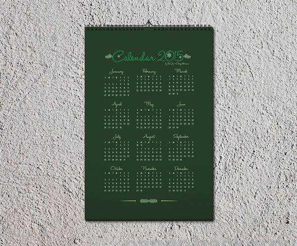 Free Wall Calendar Design Template Ai Mock Up Pinterest