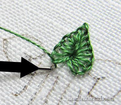 Tiny Buttonhole Stitch Leaves