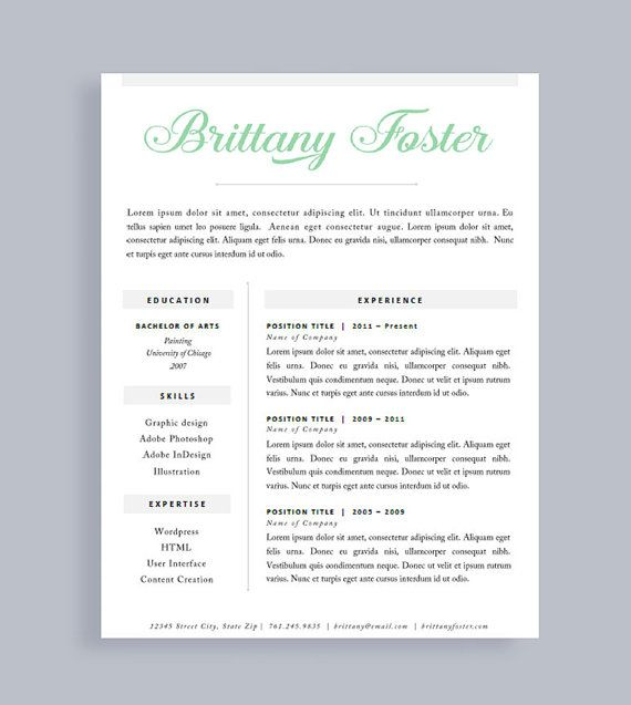professional resume template made to order header instant download word and pages - One Page Resume Template Free