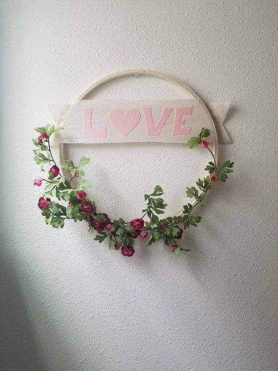 """Photo of Floral """"Love"""" Hoop Wreath/ Modern Hoop Wreath/ Valentine's Wreath/ Valentine's Decor/ Floral Hoop Wr"""