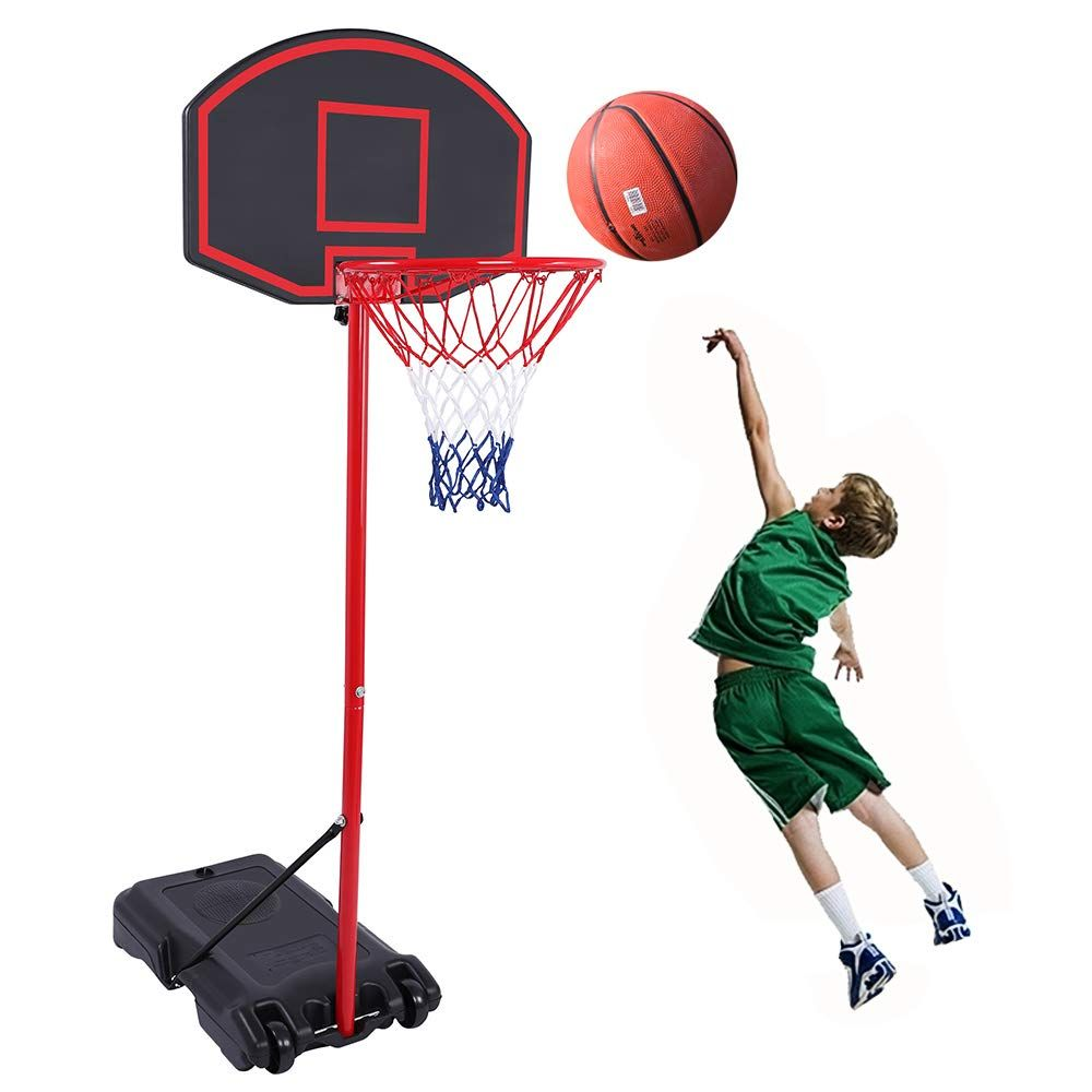 Portable Basketball Hoop for Adult Height Adjustable Basketball System for Youth Kids Indoor Outdoor Use Basketball Goal Equipment with 44 Inch Backboard Strong Base and Wheels