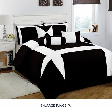 7 Piece Cal King Jefferson Black And White Comforter Set