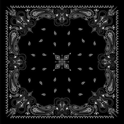Black With White Bandana Patterns Design Vector 04 Bandana