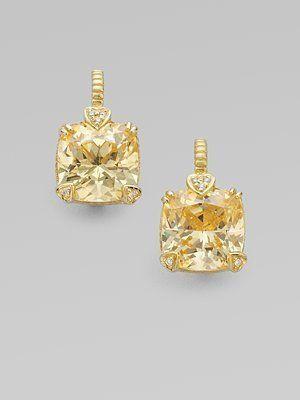 Style Judith Ripka Canary Crystal Diamond 14k Gold Cushion Drop Earrings