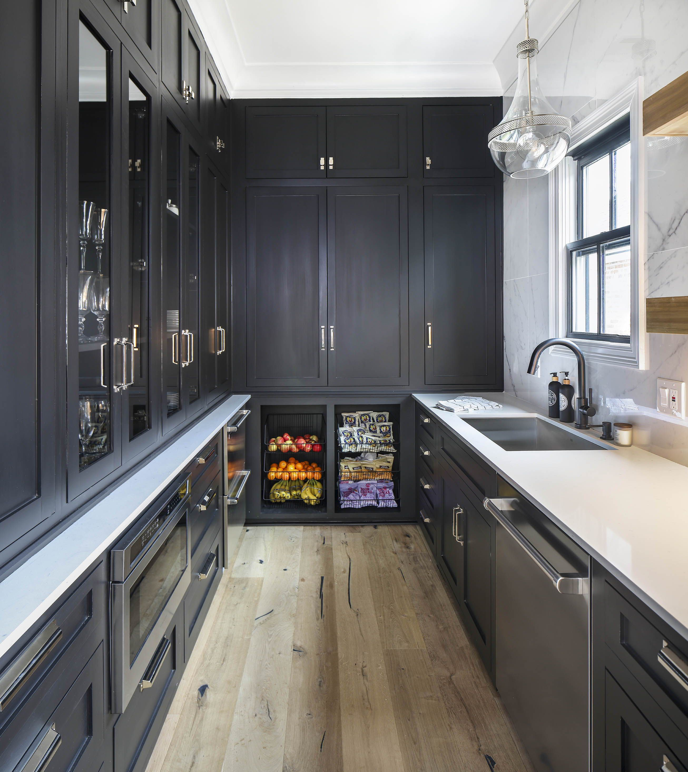 Large Pantry Or Back Kitchen Designed By Arianne Bellizaire Interiors Featuring Glamorous Black Cabinets Kitchen Pantry Design Pantry Design Kitchen Design
