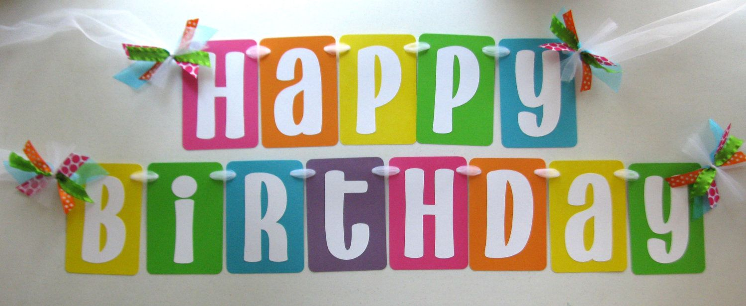 Happy Birthday Party Banner In Bright Rainbow Colors For Rainbow
