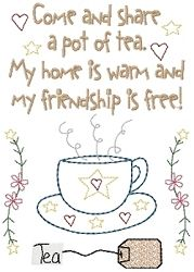 Charming Pot Of Tea Friendship Sampler 5x7 | Samplers | Machine Embroidery Designs |  SWAKembroidery.com