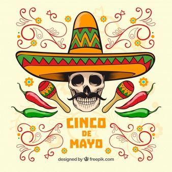 Fondo de cinco de mayo de calavera con sombrero mexicano  8508ef334f8