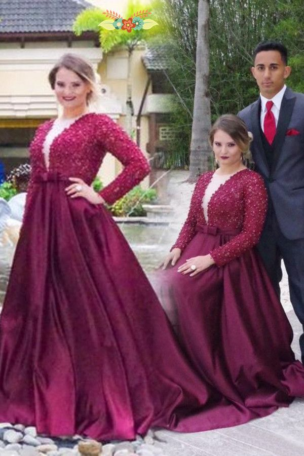 Plus Size Long Sleeve Formal Dresses for Prom